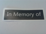 1 - 100  x 'In Memory of' word stencils for etching on glass  craft hobby glassware   gift memorial